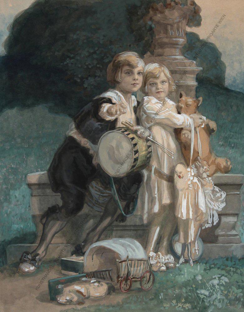 Franz von Bayros (1866–1924) Zwei spielende Kinder in einem Park Aqua/Kart.sign. um 1900