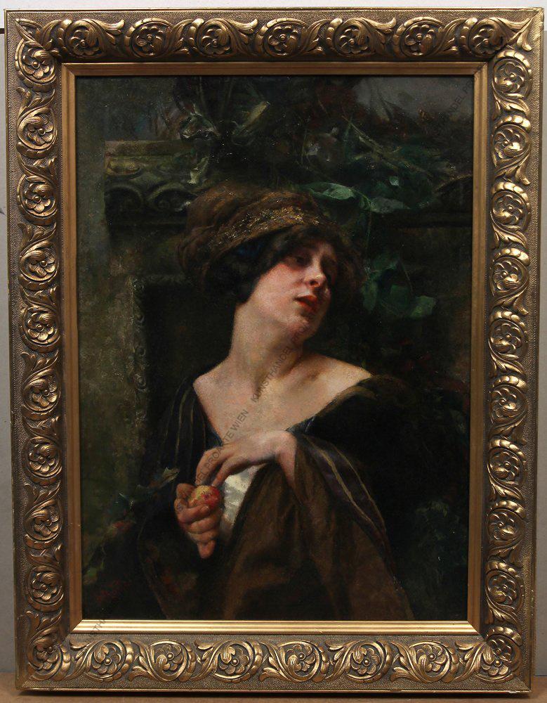 Agathe Röstel (1866-1920) Junge Frau mit Pfirsich Öl/Karton signiert um 1880