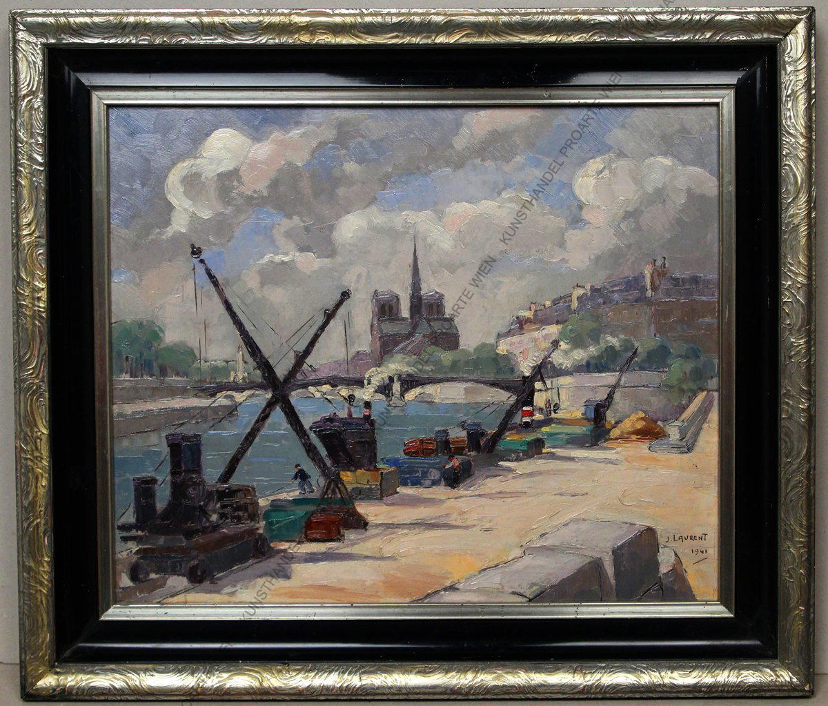 Jean Emile Laurent ( 1906 – ? ) Paris- Île de la Cité mit Notre Dame- ÖL sign.dat. 1941