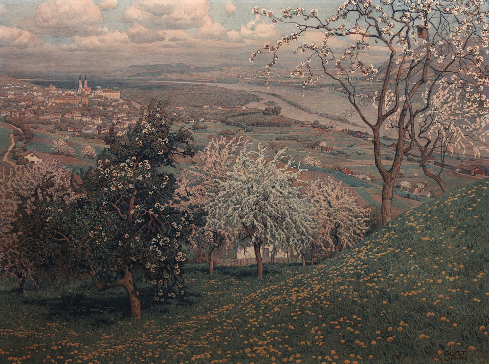 Gustav Jahn - Frühling- Blick auf Klosterneuburg