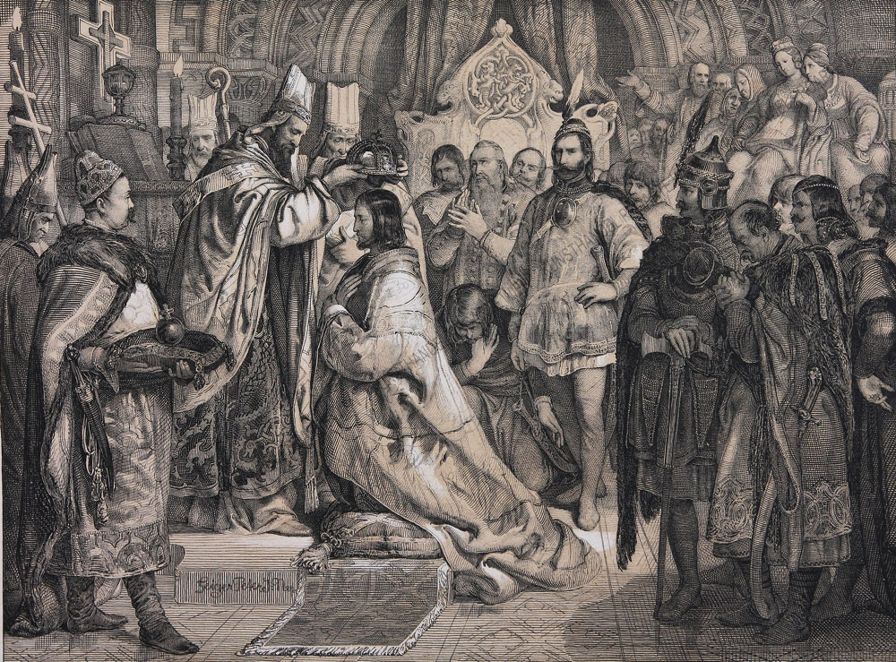 Peter Johann Nepomuk Geiger - Stephan der Heilige wird zum ungarischen Könige gekrönt, 1000.