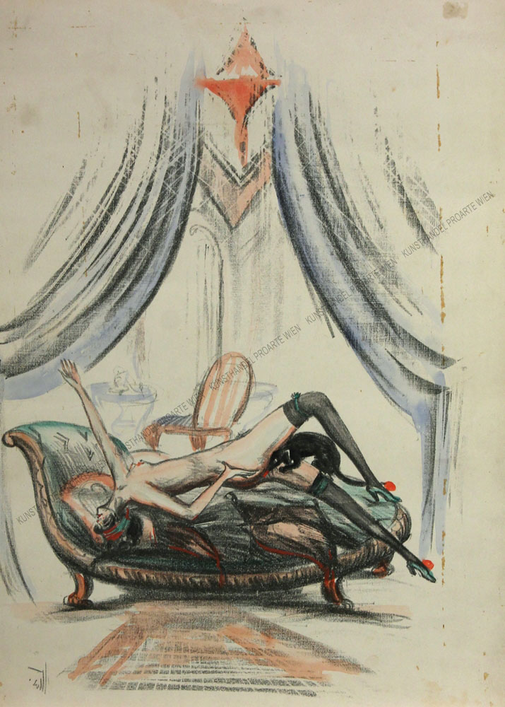 Künstler unbekannt - Dame im Boudoir