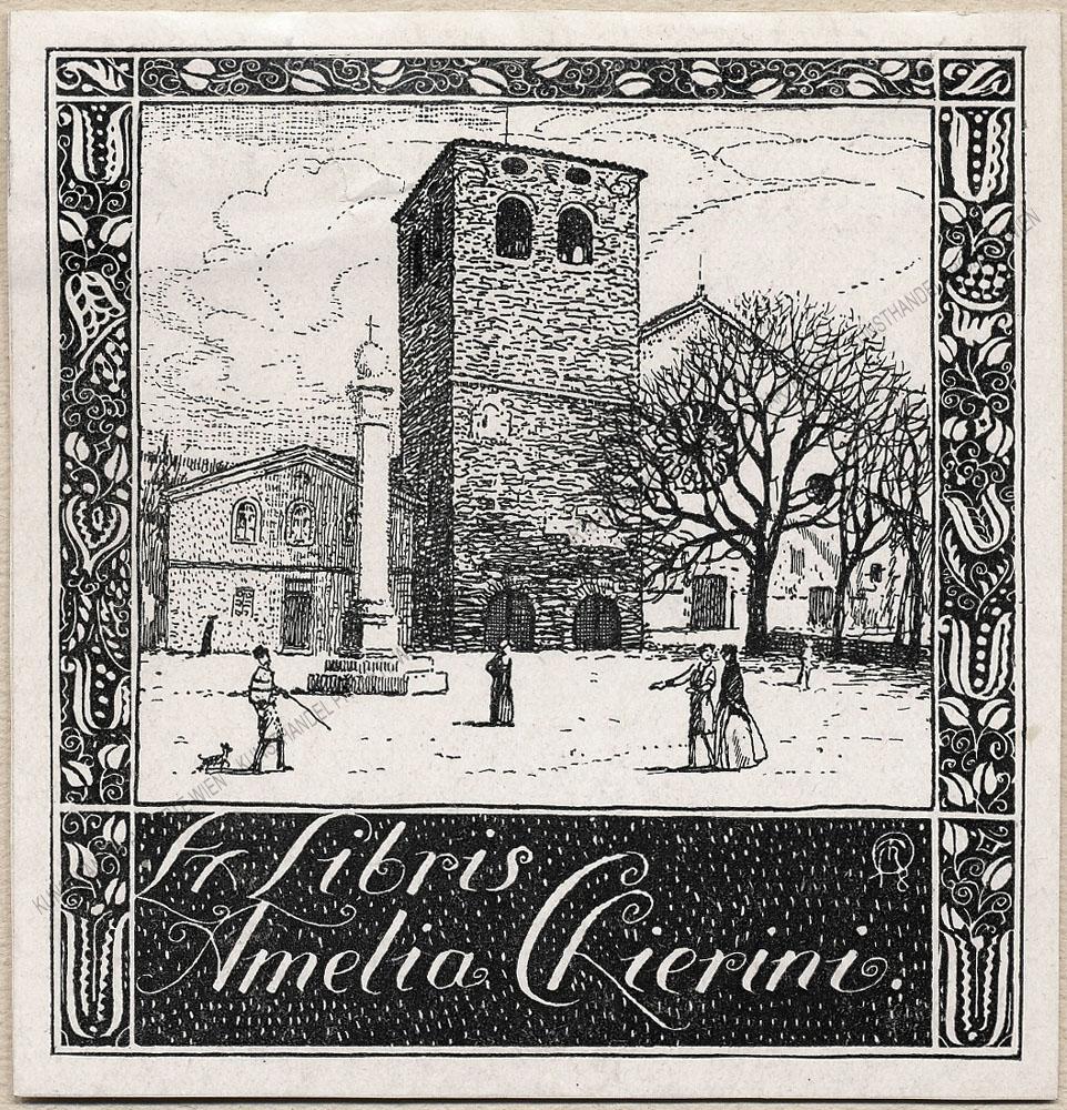Richard Teschner - Ex libris für Amelia Chierini-Dom S.Giusto in Triest, 1918