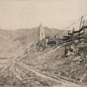 Ferdinand Schmutzer - Blick auf die Kirche von Dürnstein