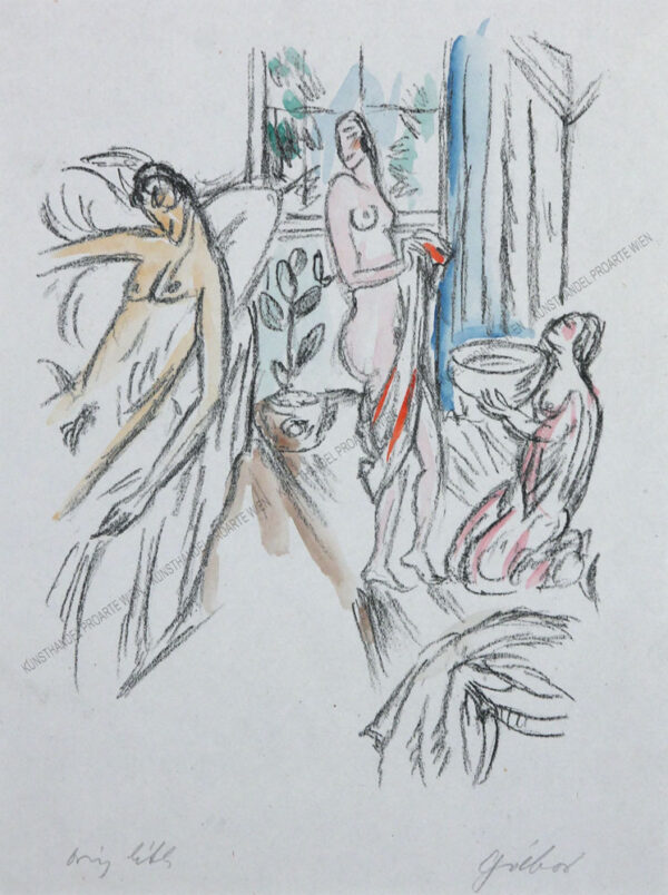 """László Gábor - Ein Blatt aus der graphischen Folge: Ovid Liebesgedichte - Phaidon Verlag - 1924 """"Tagebuch II"""""""