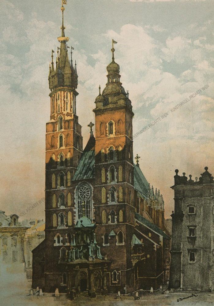 Jan Kanty Gumowski - Motiv aus Krakau Blick auf die Marienkirche /Kościół Mariacki