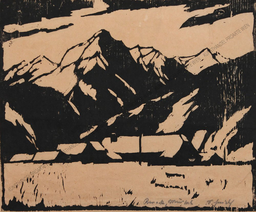 Leopold Scheidl - Blick auf ein Dorf und eine Gebirgskette im Winter