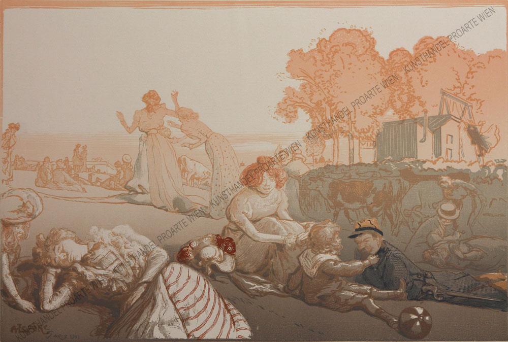 Auguste Lepère - Sonntag vor den Thoren von Paris