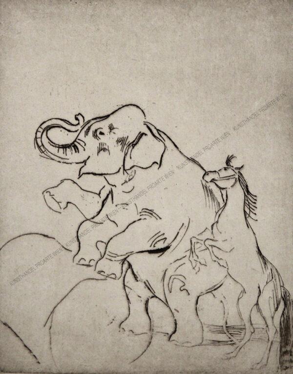 Louis Legrand - Zirkusmotiv - Elefant und Pferd