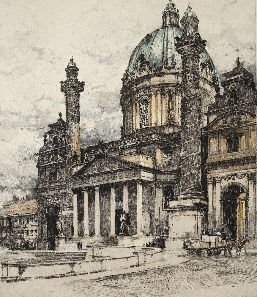 Luigi Kasimir - Blick auf die Karlskirche in Wien