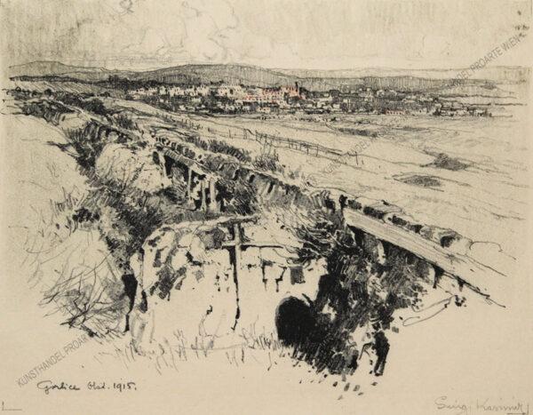 """Luigi Kasimir - Eine Lithographie aus""""Galizien 1915 - Ein Künstlertagebuch"""" -Anlegen des Heldenfriedhofes in Gorlice"""