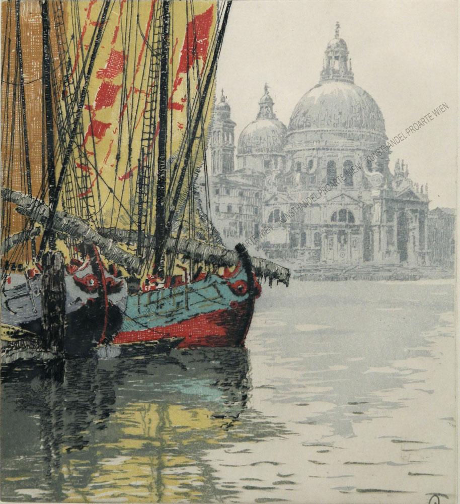 Hans Figura - Motiv aus Venedig - Boote im Hafen mit Blick auf die Santa Maria della Salute