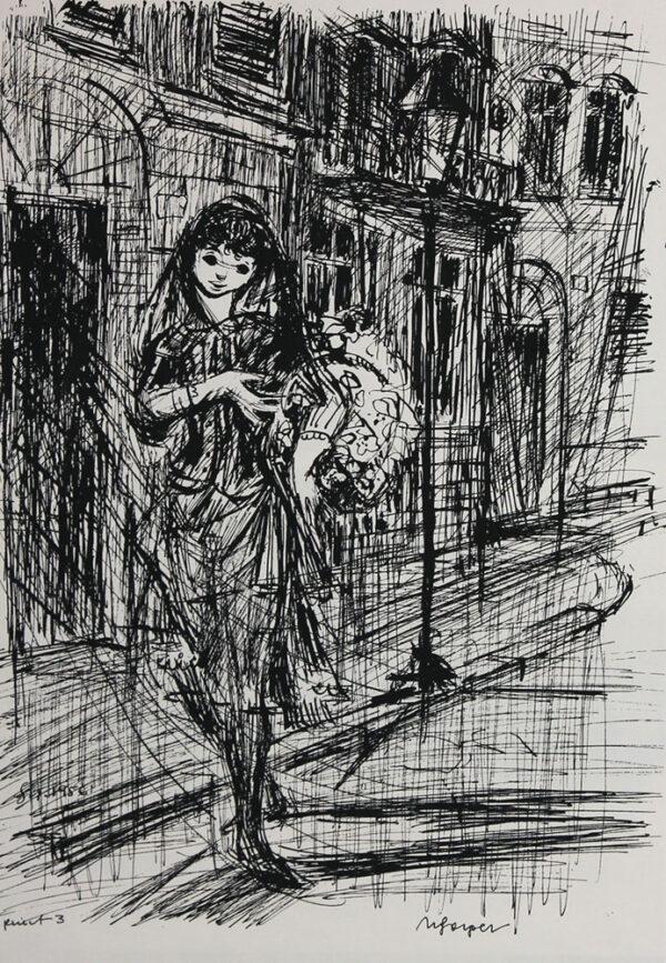 Leon Sliwinski - Mädchen mit Blumen