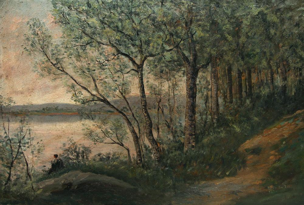 Künstler unbekannt - Motiv aus Frankreich -Tain ( heute Tain-l'Hermitage) an der Rhône -Sitzende Frau am Flussufer der Rhône
