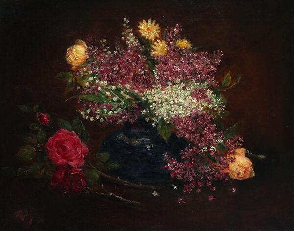 Auguste Döll - Blumenstillleben -Flieder und Rosen