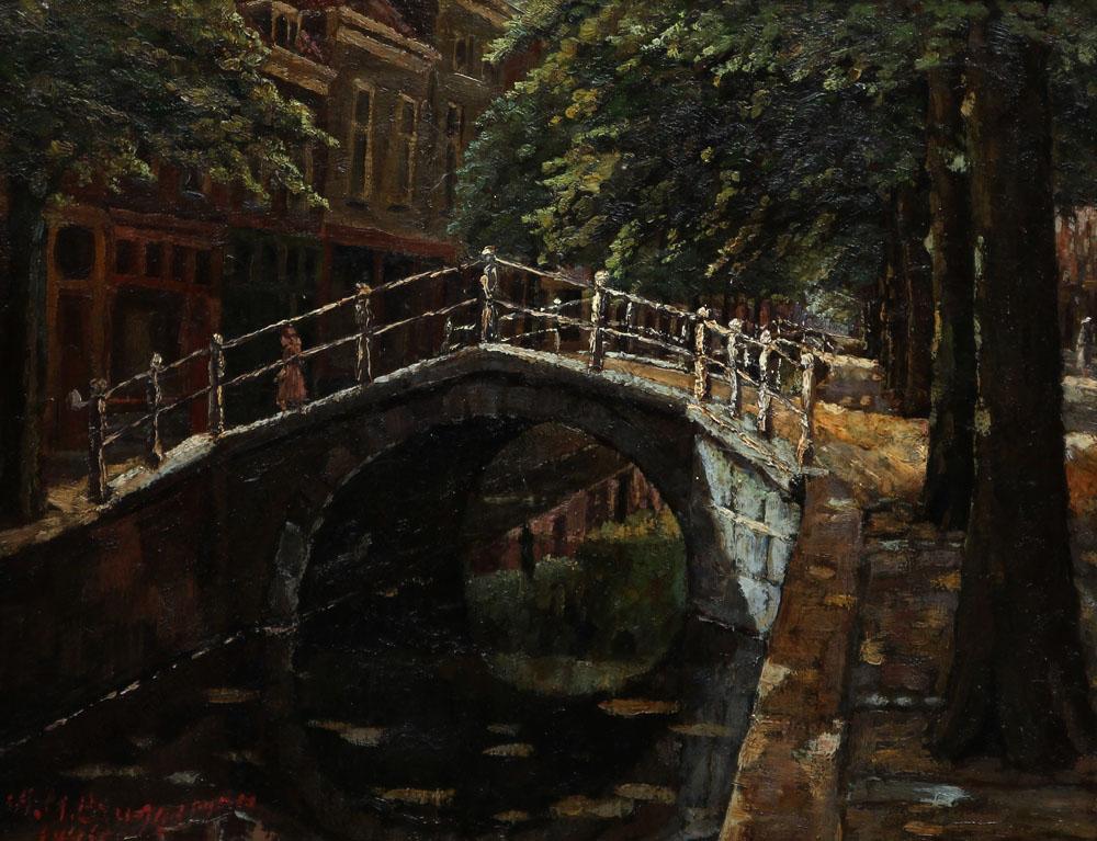 Künstler unbekannt - Brücke über einen Kanal in Brügge