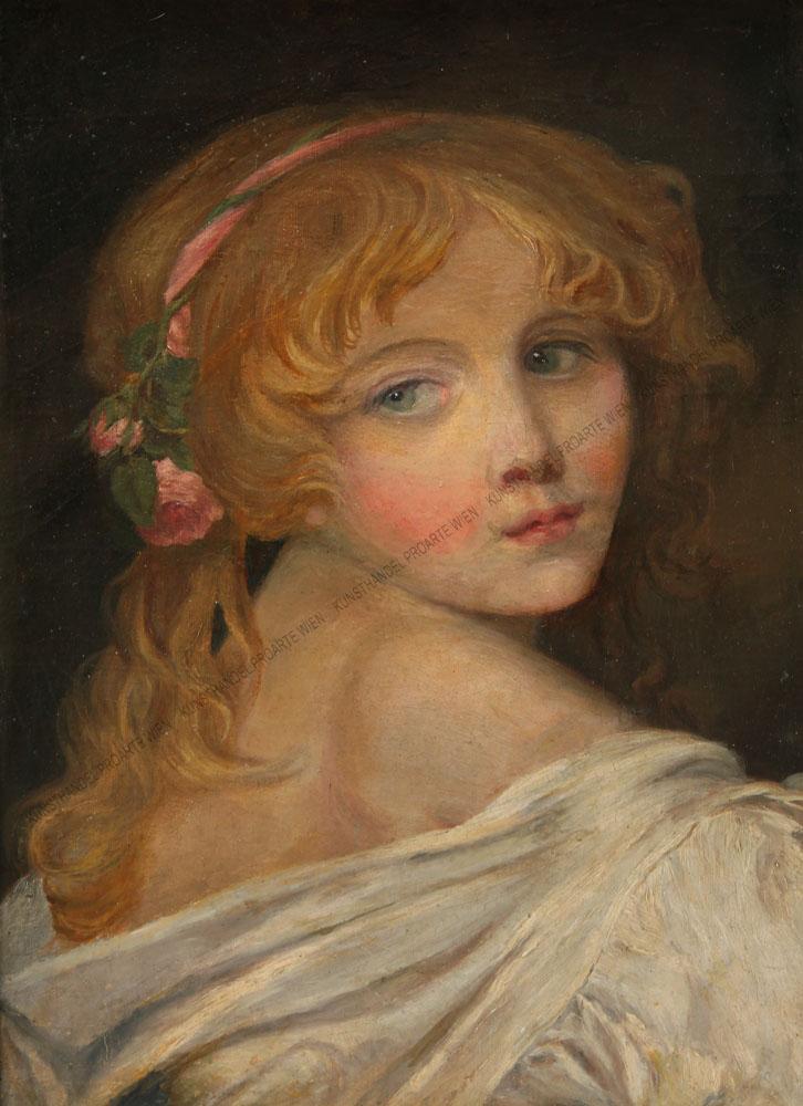Künstler unbekannt - Bildnis eines Mädchens mit Rosen im Haar