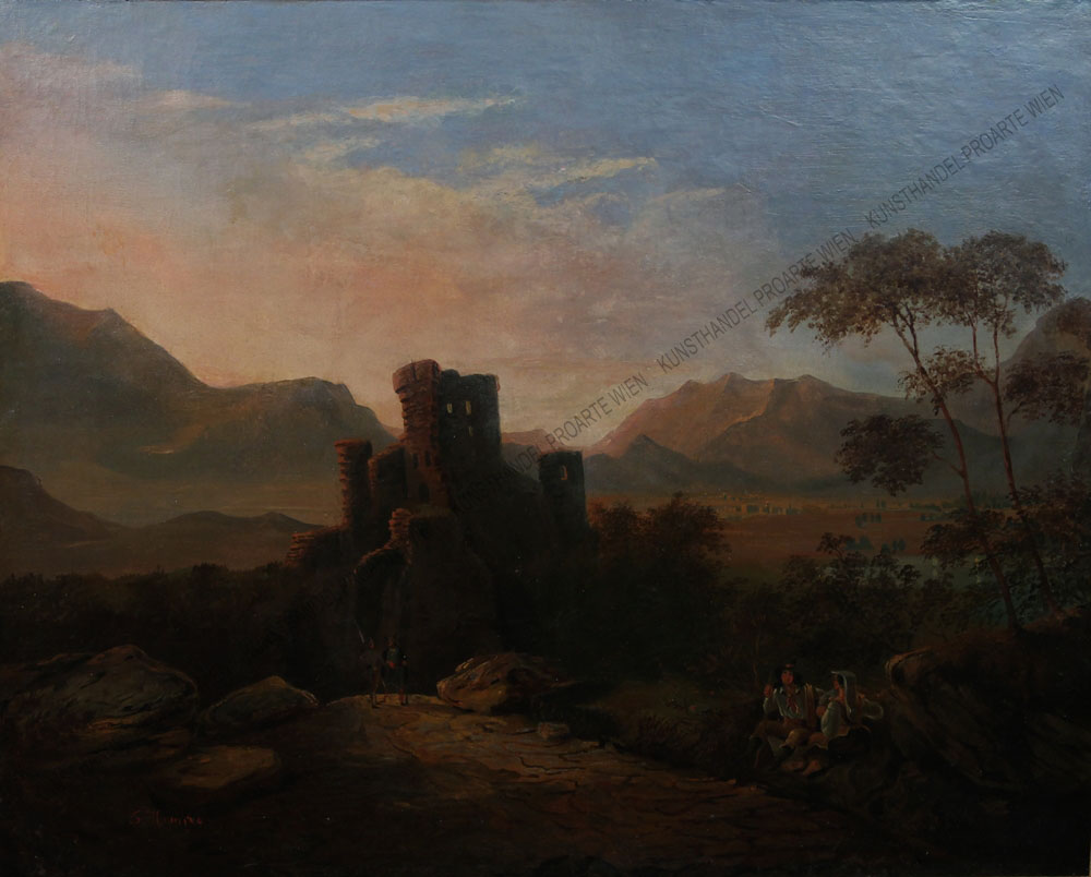 Guido Hampe - Italienische Landschaft mit Wanderern