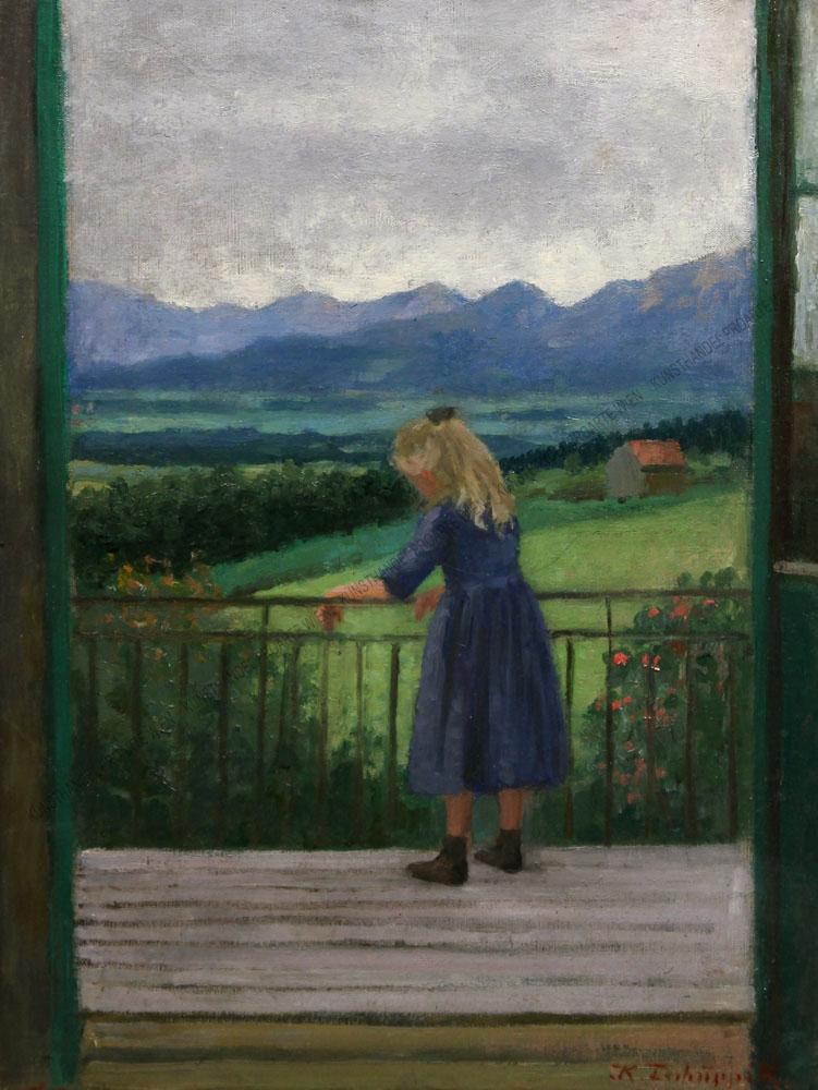 Klothilde (Clothilde ) Tschuppik - Blondes Mädchen am Balkon
