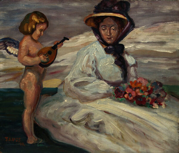 Georg Jauss - Junge Dame mit Blumenstrauß auf einer Wiese sitzend sowie ein Putto mit Laute