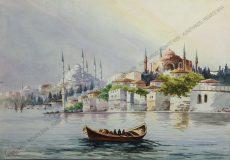 Serif Renkgörür - Blick auf die sechstürmige blaue Moschee und die Haghia Sophia