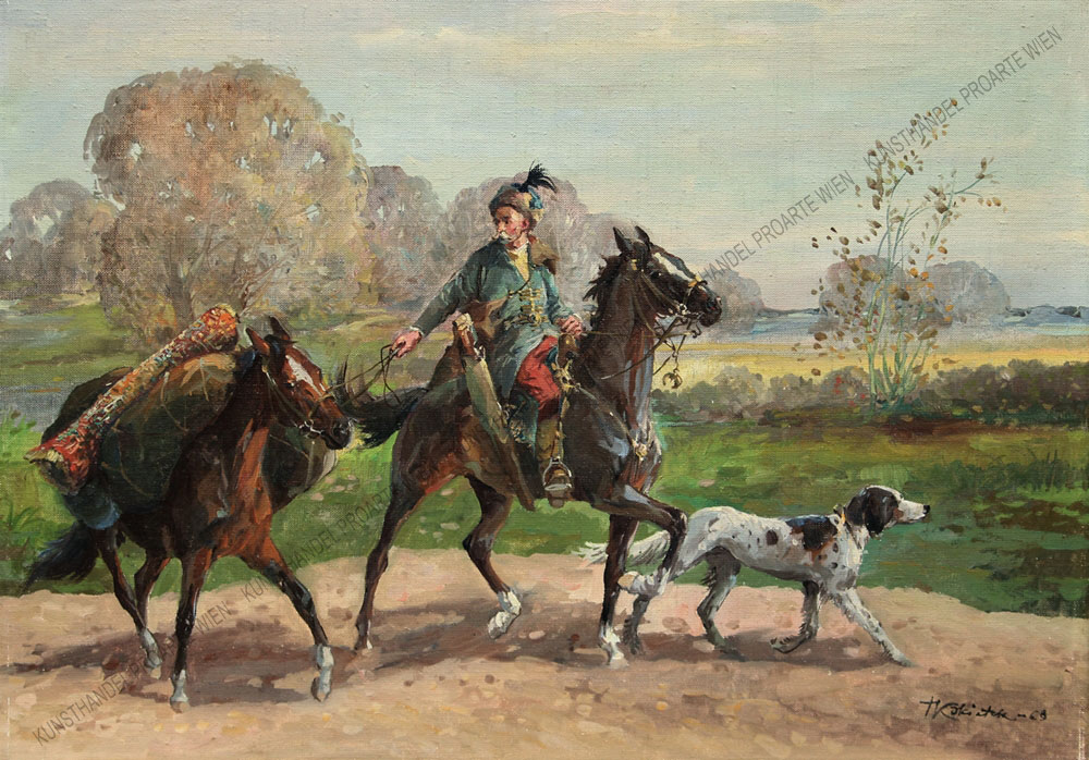 Tadeusz Kokietek - Szene aus dem XVII Jahrhundert -Wanderreiter mit Jagdhund