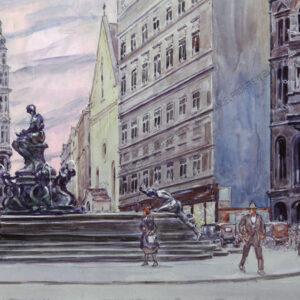 Rudolf Hannich - Wien, neuer Markt mit Donnerbrunnen und Kapuzinergruft