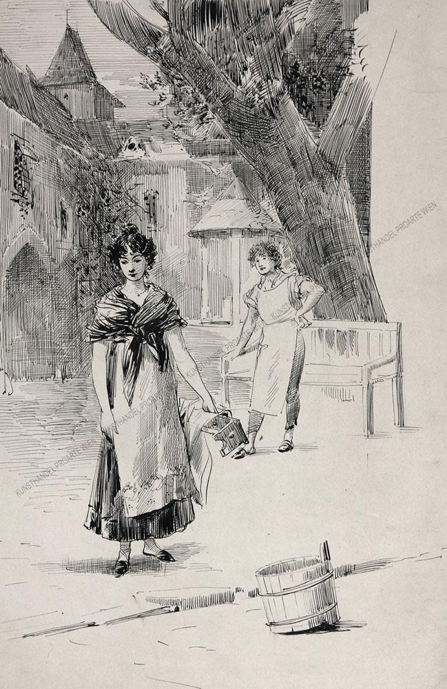 Eduard Veith - Jugendarbeit -Zwei Jugendliche auf einem Dorfplatz