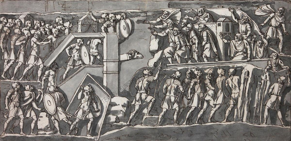 Künstler unbekannt - Das Motiv ist dem Septimius-Severus-Triumphbogen in Rom entnommen -Soldaten stürmen eine Stadt