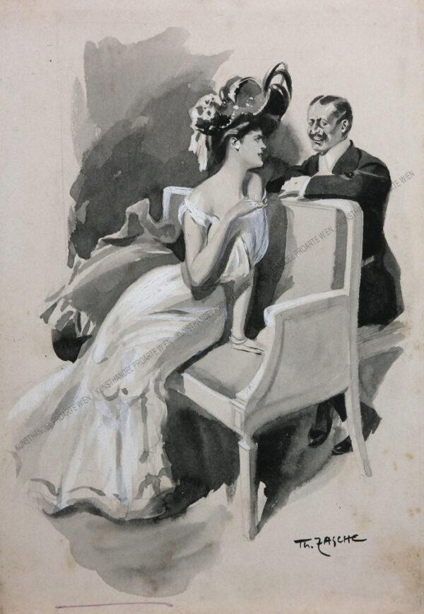 Theodor Zasche - Elegantes Paar in einer Loge