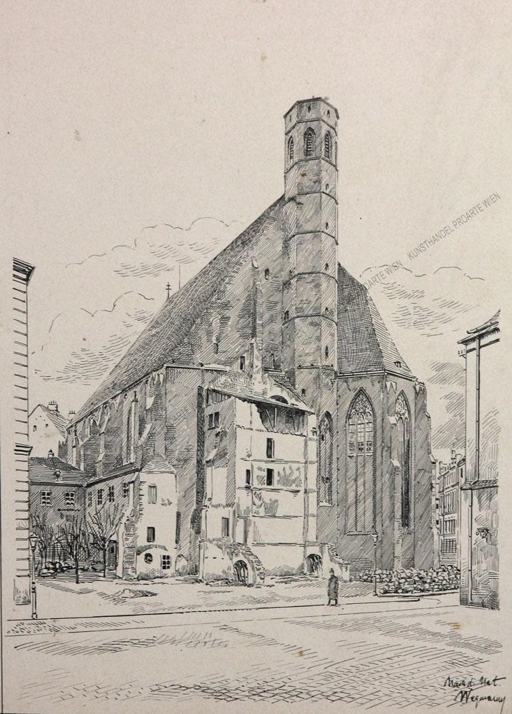 Wegmann - Blick auf die Minoritenkirche in Wien