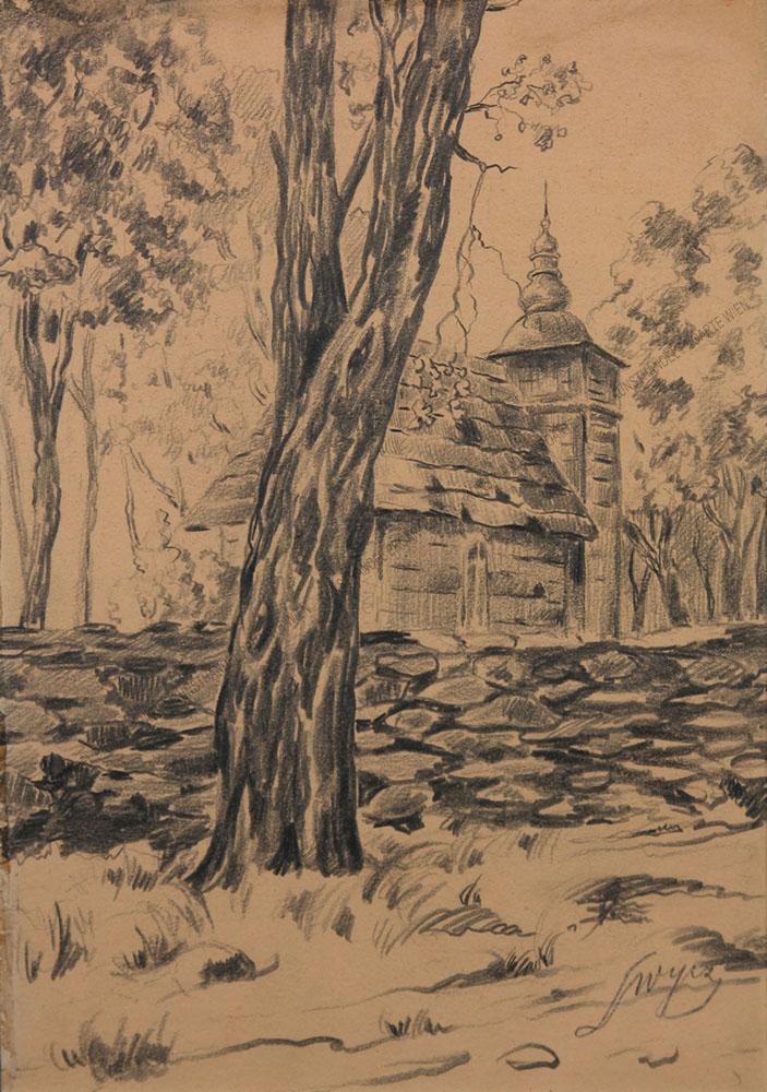 Leon Wyczolkowski - Holzkirche in Landschaft