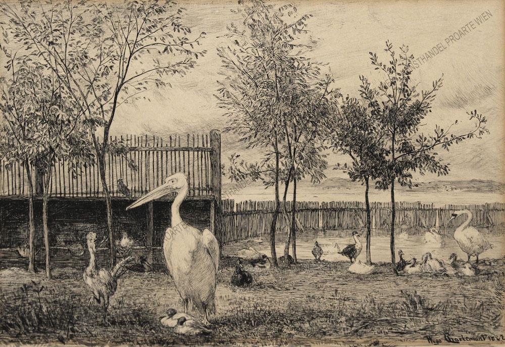 Hugo Charlemont - Geflügelhof mit Pelikan