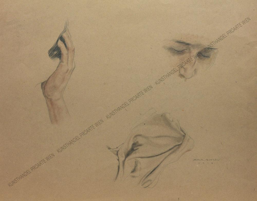 Arthur Paunzen - Drei Studien -Hand - Gesicht - Tuch