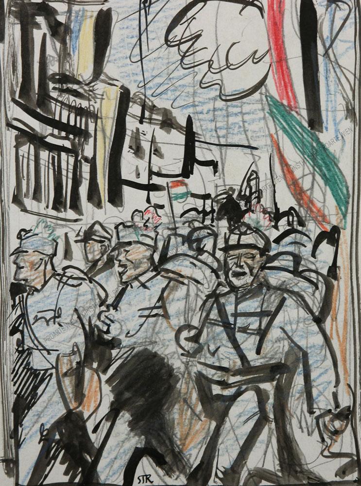 """Hans Strohofer - Vorstudie für eine Illustration zu """"Kriegsgeschichten"""""""