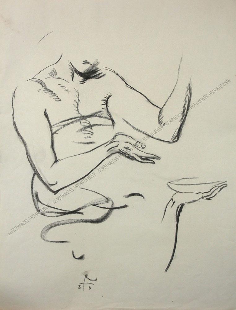 Richard Teschner - Aktstudie mit Schale
