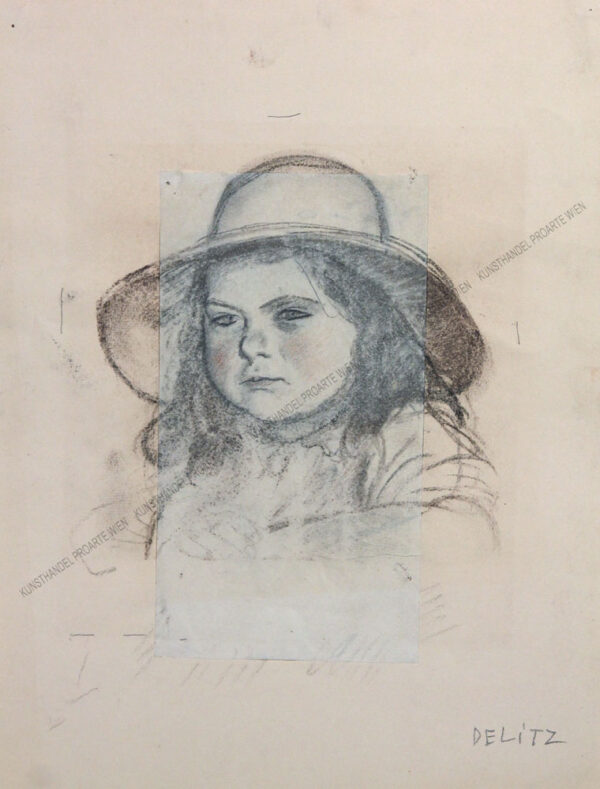 Leo Delitz - Portrait eines kleinen Mädchens mit Hut