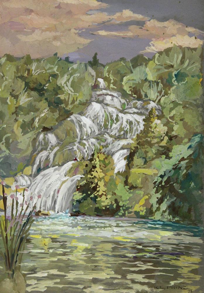 Karl Ludwig Prinz - Blick auf einen Wasserfall im Sommer