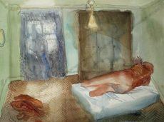 Erhard Stöbe - Liegender Akt in einem Zimmer