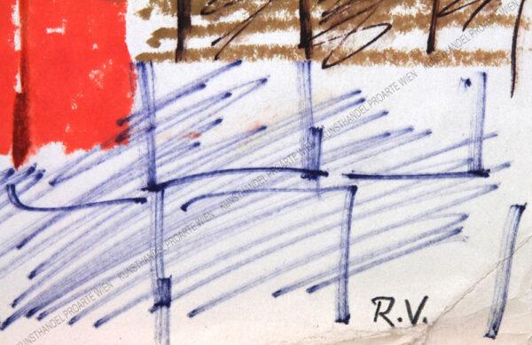Rudolf Ullik - Motiv aus Italien-Blick auf eine Stadt mit zwei Türmen