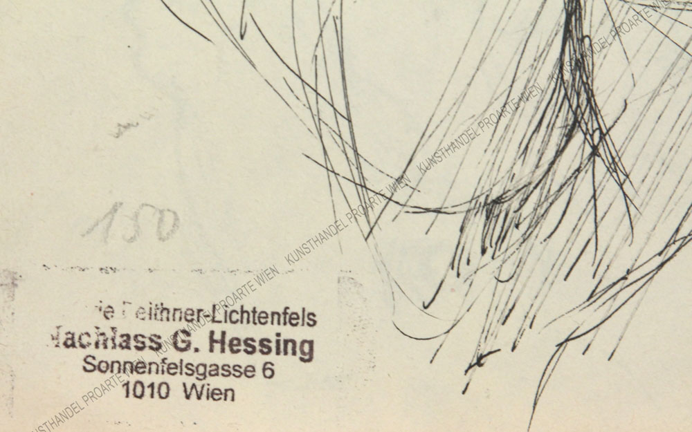 Gustav Hessing - Studienblatt - Pferde und Menschen