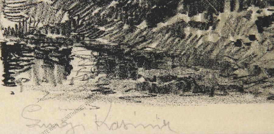 """Luigi Kasimir - Eine Lithographie aus """"Galizien 1915 - Ein Künstlertagebuch"""" -Wiazownica"""