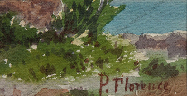 P. Florence - Weg mit Wanderer/Meeresbucht