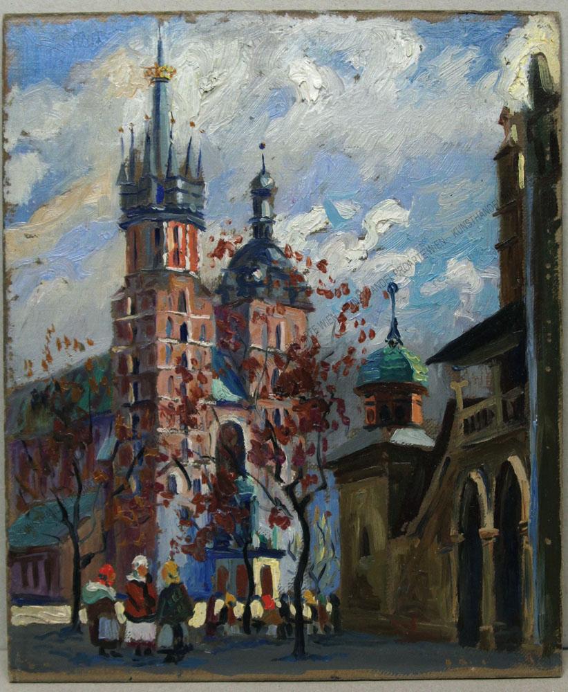 Janina Zakrzewska-Maliszewska - Motiv aus Krakau -Blick auf die Marienkirche und die Tuchhallen