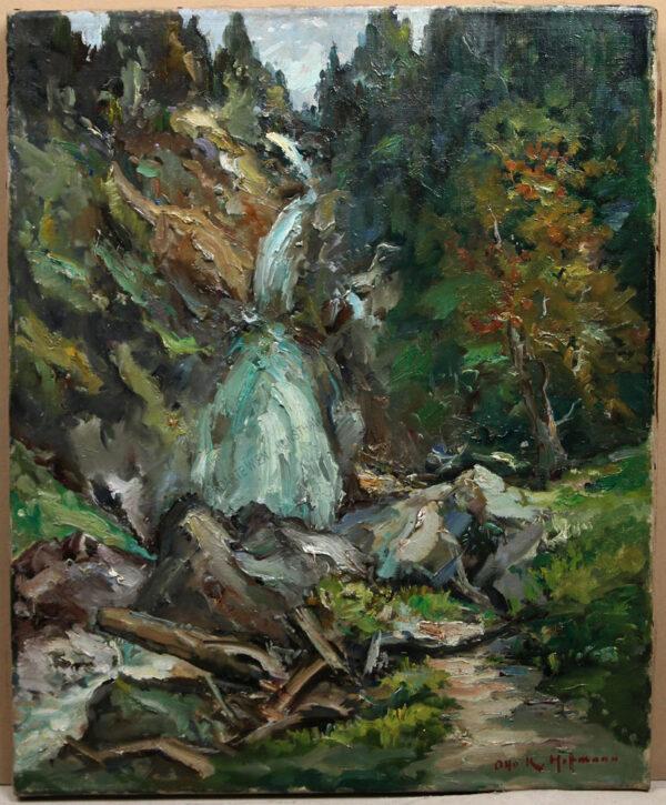 Otto K.Hoffmann - Motiv aus Oberösterreich -Der Wasserfall in Kreuzstein am Mondsee