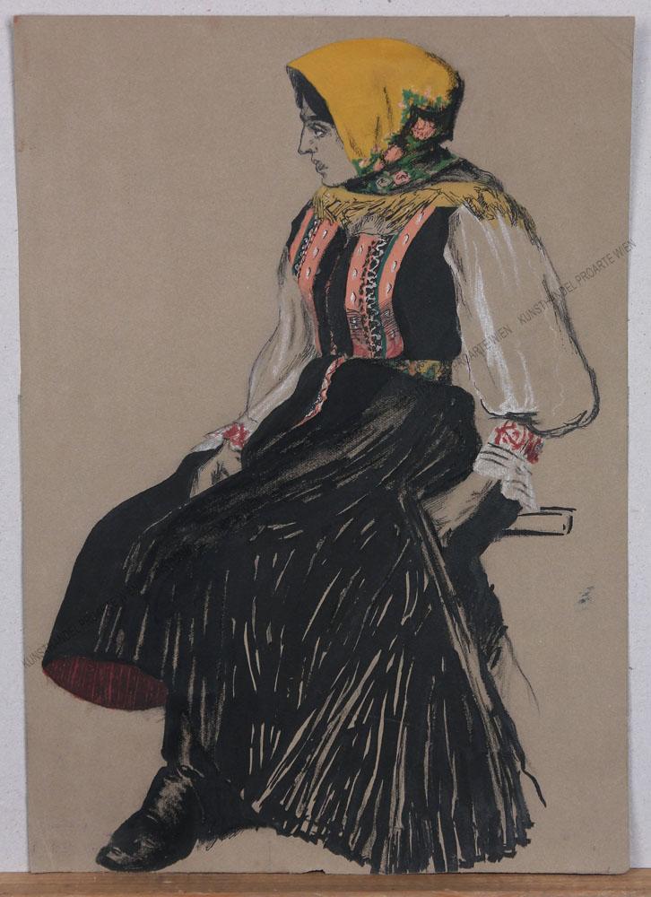 Sandor Alexander Kubinyi von Demenfalva - Sitzende, junge Bäuerin