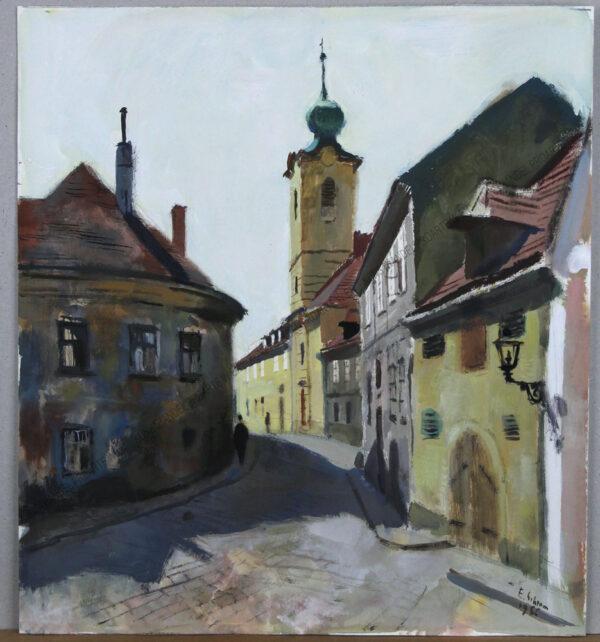 Ernst Schrom - Die Greinergasse, mit der Pfarre Nussdorf in Wien Döbling