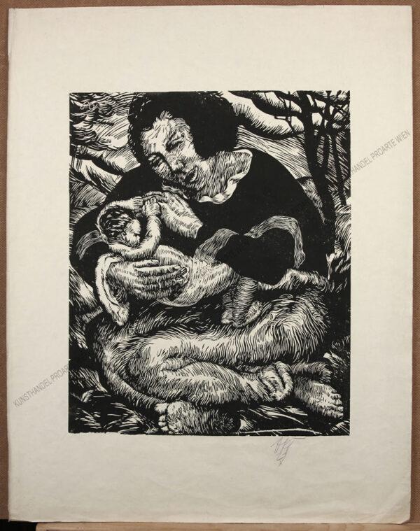 Otto Rudolf Schatz - Expressionistische Darstellung - Mutter mit Kind