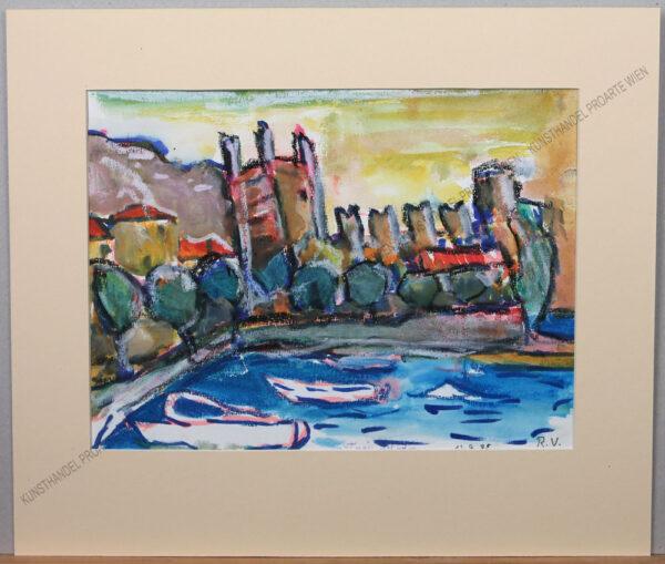 Rudolf Ullik - Blick auf Torri del Benaco am Gardasee