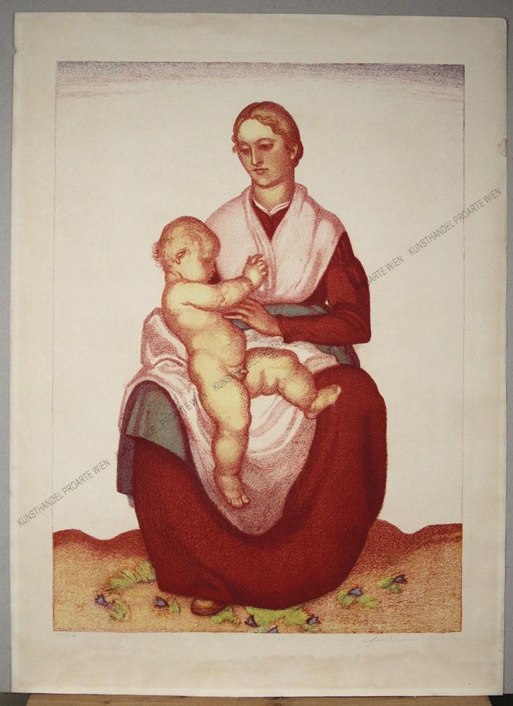 Ferdinand Andri - Großformatige Farblithographie -Mutter mit Kind / Madonna